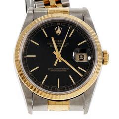 Rolex Gold Steel Datejust Black Dial Wristwatch ref 16233