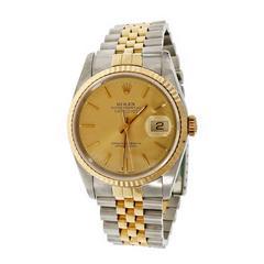 Rolex Gold Steel Datejust Gold Dial Wristwatch ref 16233