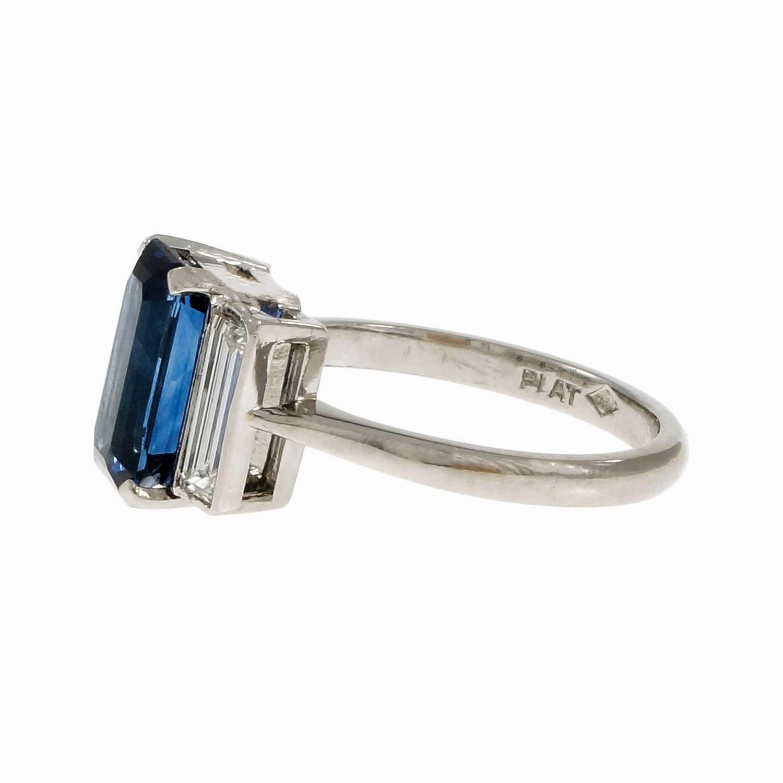 Emerald Cut Sapphire Diamond Platinum Three Stone Engagement Ring For Sale at