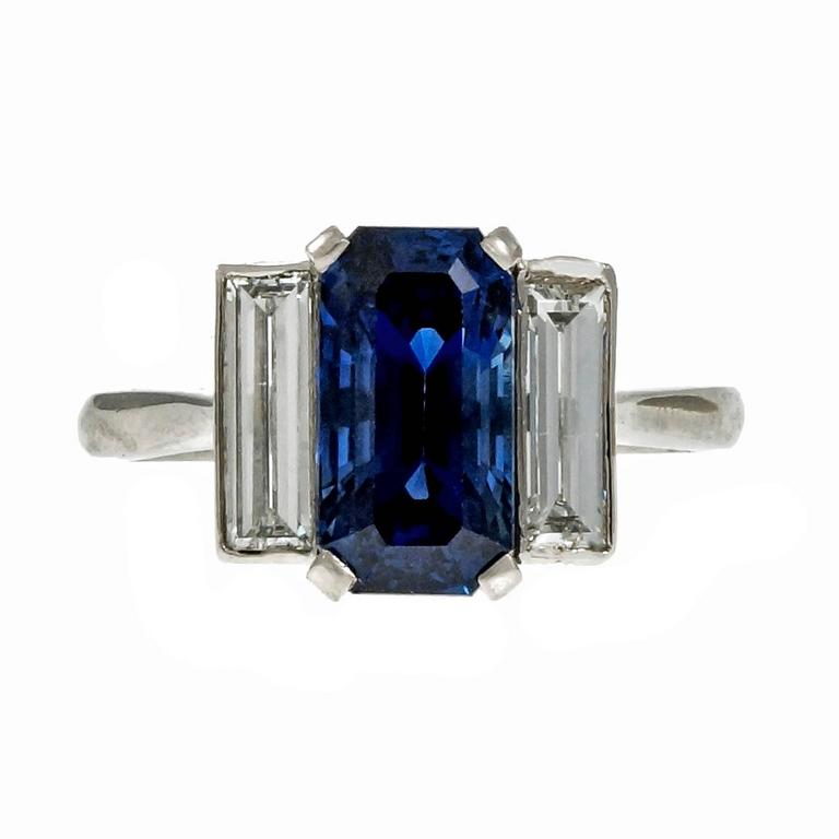 Emerald Cut Sapphire Diamond Platinum Three Stone Engagement Ring For Sale at