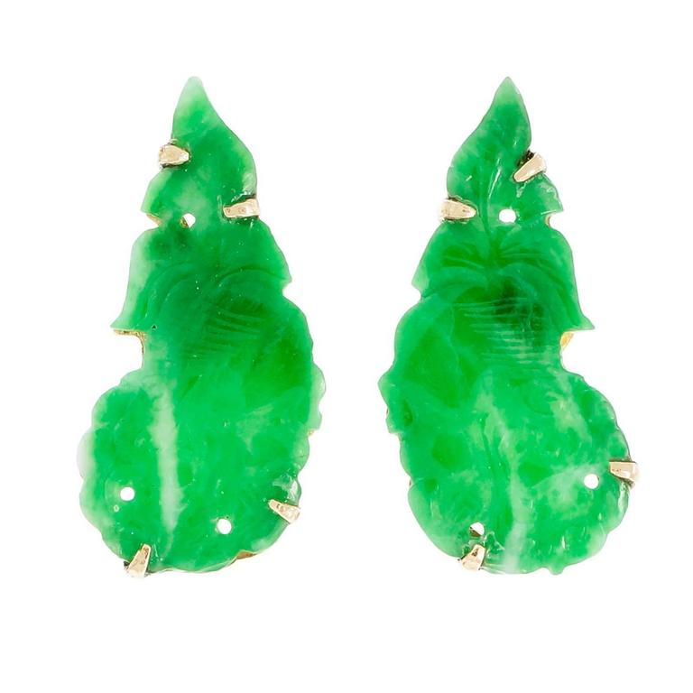 Natural Carved Jadeite Jade Green Gold Earrings
