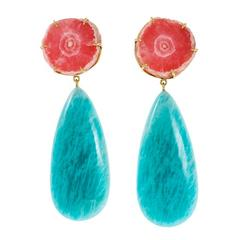 Peter Suchy Amazonite Rhodochrosite Gold Dangle Earrings