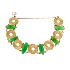 Larter & Sons GIA Certified Natural Green Jadeite Jade Marquise Gold Bracelet