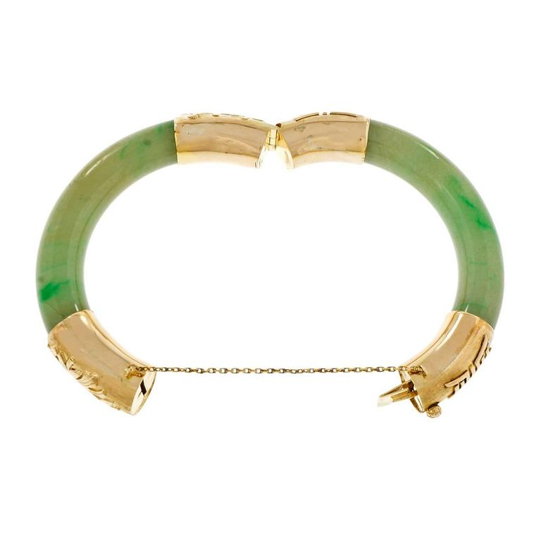 2a665027cc8b4 GIA Certified Natural Green Jadeite Jade Gold Bangle Bracelet