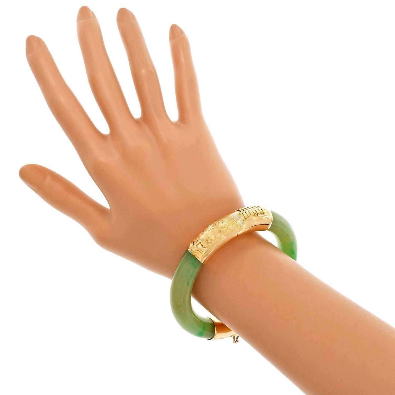 Natural Green Jadeite Jade Gold Bangle Bracelet For Sale