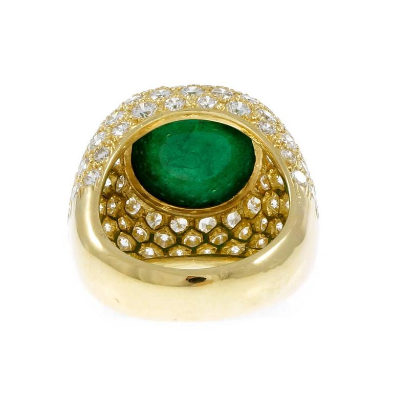 Women's Green Cabochon Emerald Diamond Dome Gold Cocktail Ring For Sale