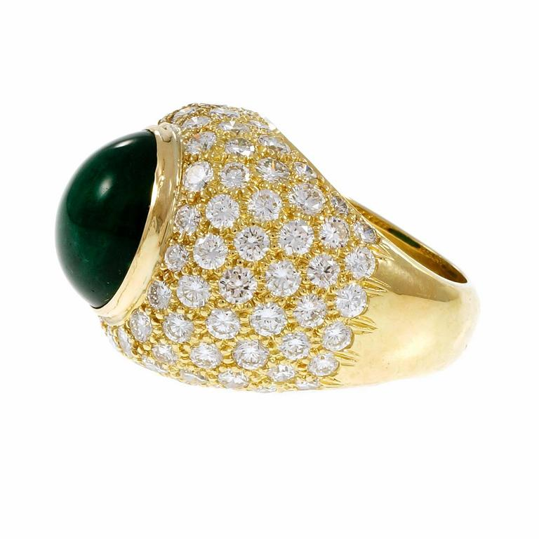 Green Cabochon Emerald Diamond Dome Gold Cocktail Ring For Sale 1