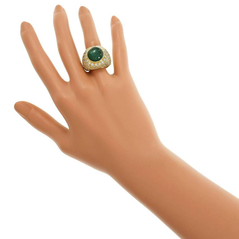 Green Cabochon Emerald Diamond Dome Gold Cocktail Ring For Sale 2