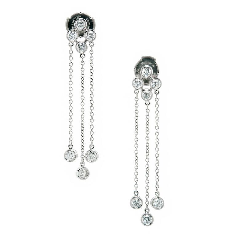 Tiffany & Co. Triple Dangle Diamond Platinum Earrings