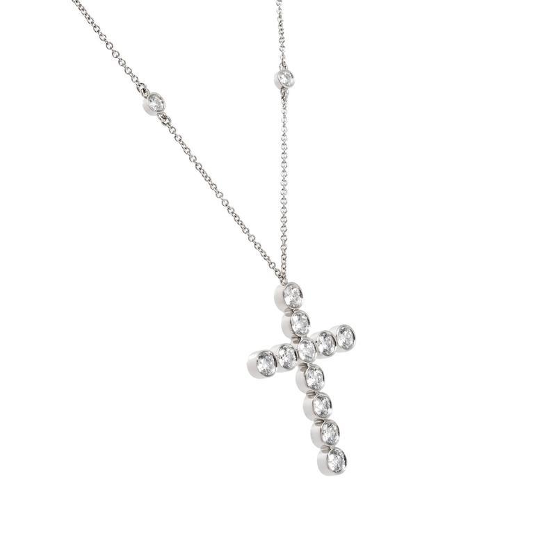 Tiffany & Co. Diamond Platinum Jazz Cross Pendant Necklace 3