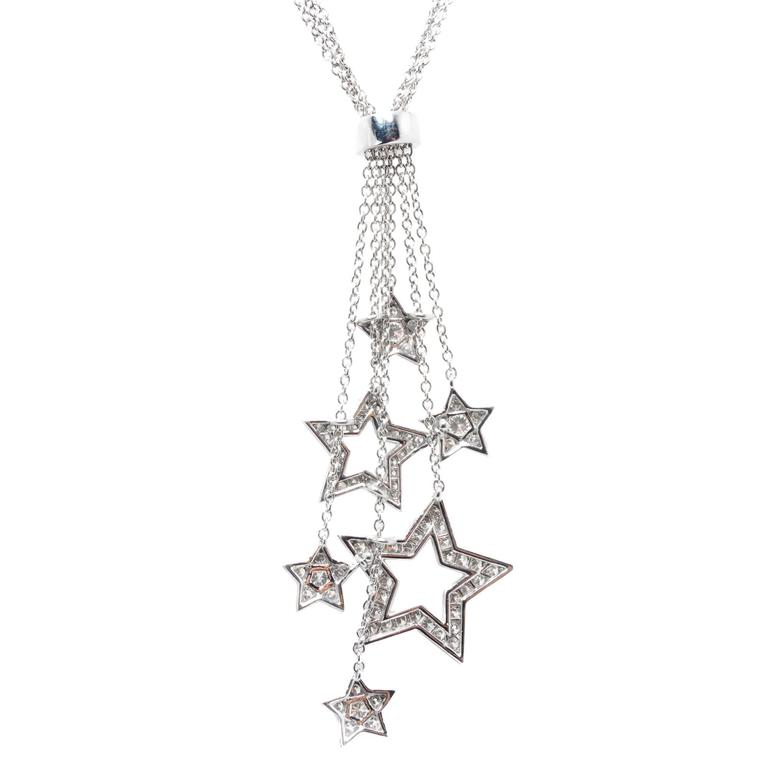 Tiffany & Co .80 Carat Diamond Platinum Multi Star Pendant Necklace In Good Condition For Sale In Stamford, CT
