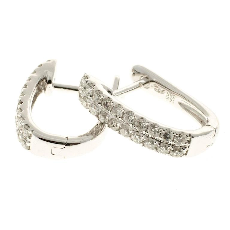 Two Row Diamond Huggie Style Hoop Earrings From The Designer Gp 40 Round Full Cut