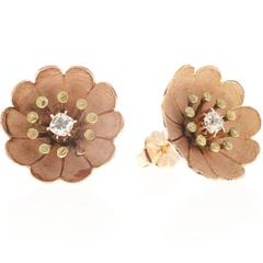 Victorian Diamond Gold Rose Flower Earrings