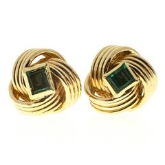 Emerald Wire Gold Knot Earrings