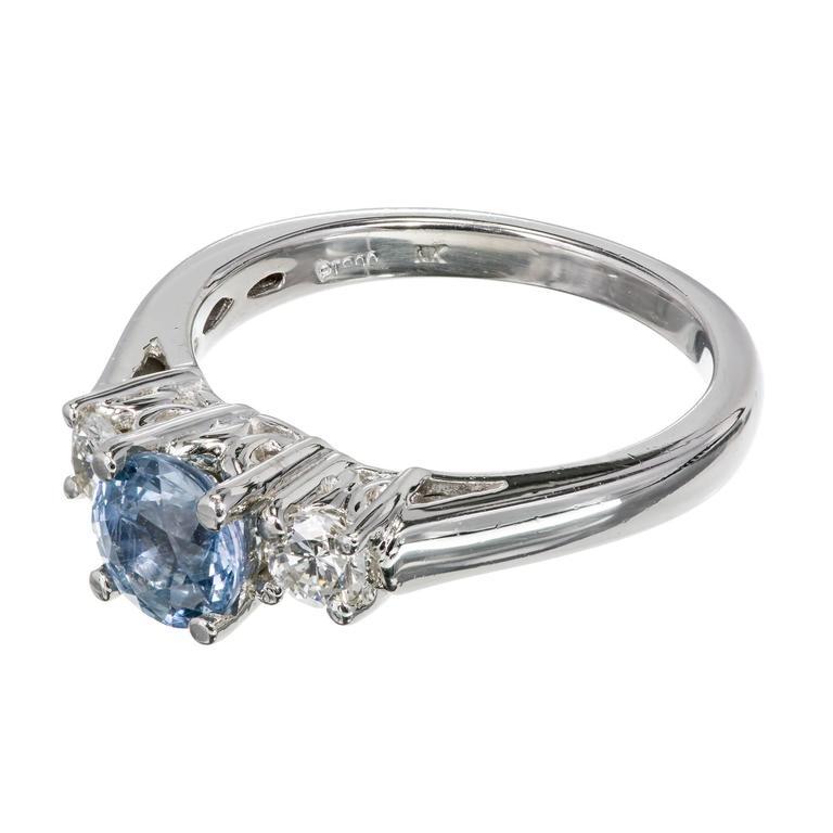 Natural Light Blue Sapphire Diamond Platinum Three Stone