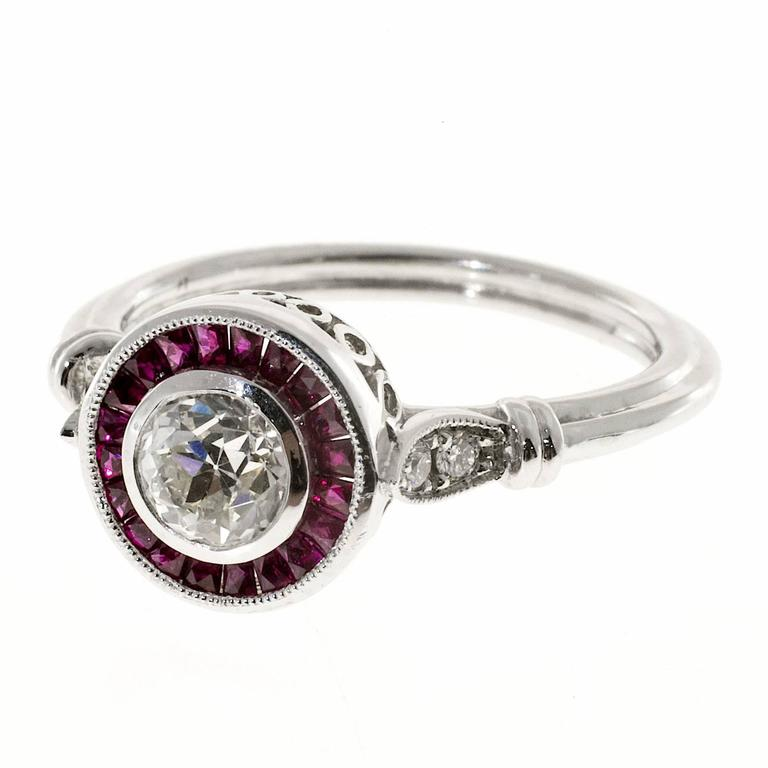 ruby halo platinum engagement ring for sale at 1stdibs