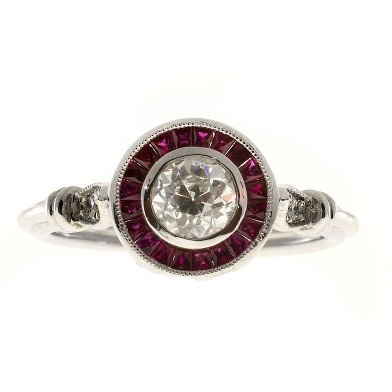 Diamond Ruby Halo Platinum Engagement Ring