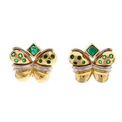 Faraone Emerald Gold Butterfly Clip Post Earrings