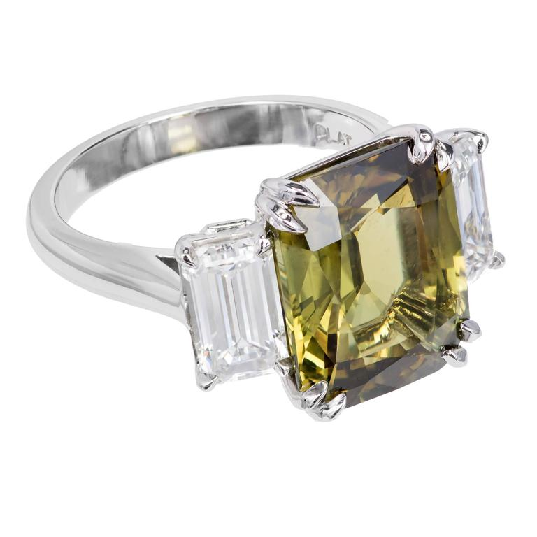 Peter Suchy 9.65 Carat Alexandrite Diamond Platinum Engagement Ring In Excellent Condition For Sale In Stamford, CT