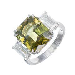 Peter Suchy Natural Alexandrite Diamond Platinum Three-Stone Engagement Ring