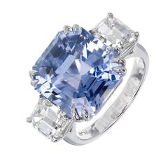 Peter Suchy Periwinkle Blue Sapphire Diamond Three-Stone Engagement Ring