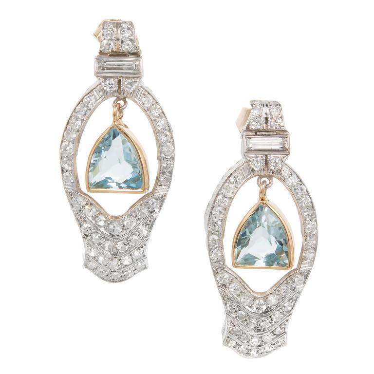1940s Aquamarine Diamond Gold Platinum Dangle Earrings