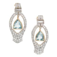 1940s Aquamarine Diamond Gold Platinum Dangle Earrings