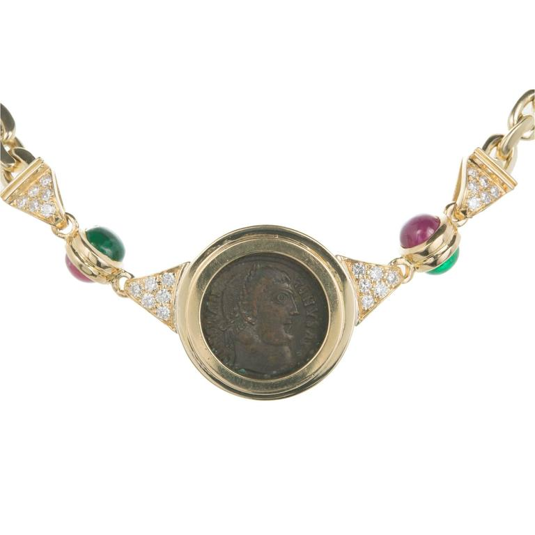 Preferred Ancient Roman Coin Emerald Ruby Diamond Gold Necklace For Sale at  OC89
