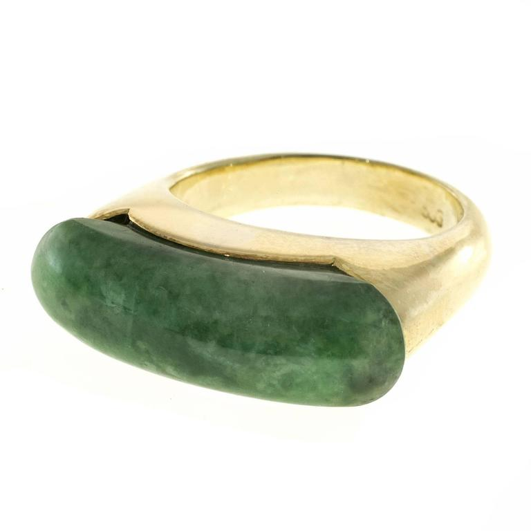 GIA Certified Natural Jadeite Jade Gold Ring