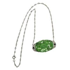 GIA Certified Jadeite Jade Onyx Diamond Platinum Art Deco Pendant Necklace