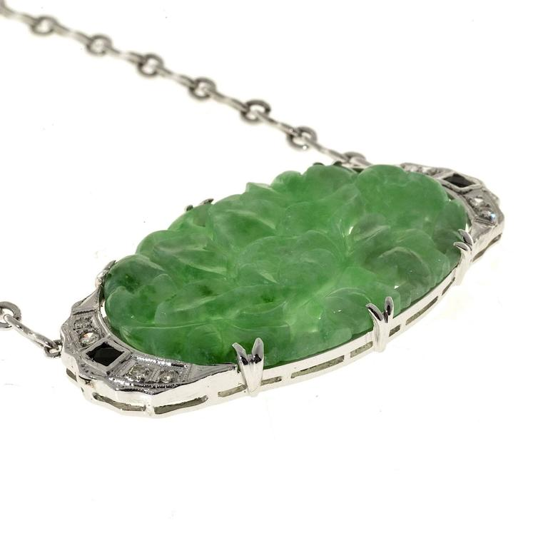Art Deco Natural Jadeite Jade Onyx Diamond Platinum Pendant Necklace 3