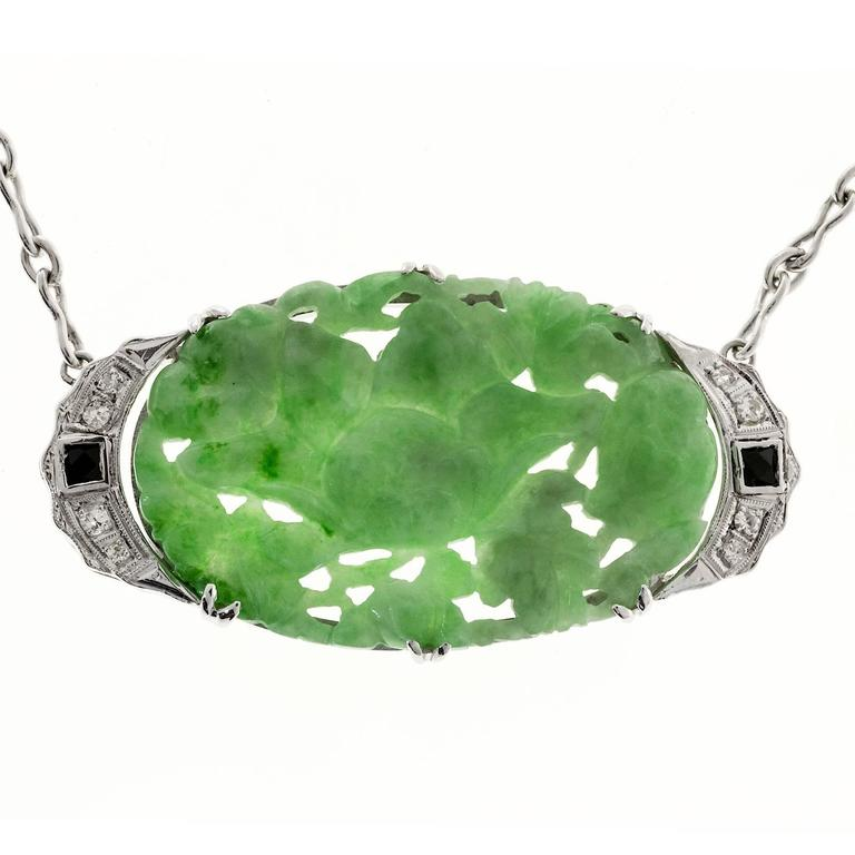 Art Deco Natural Jadeite Jade Onyx Diamond Platinum Pendant Necklace 4
