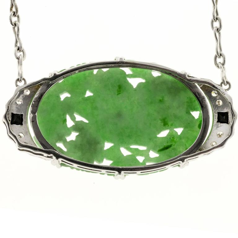Art Deco Natural Jadeite Jade Onyx Diamond Platinum Pendant Necklace 5
