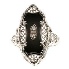 Art Deco Filigree Black Onyx Diamond Gold Cocktail Ring