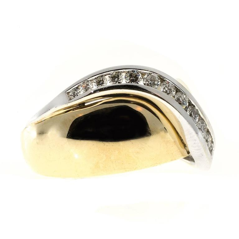Channel Set Diamond Gold Swirl Cocktail Ring 2