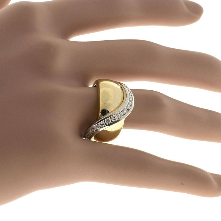 Channel Set Diamond Gold Swirl Cocktail Ring 7