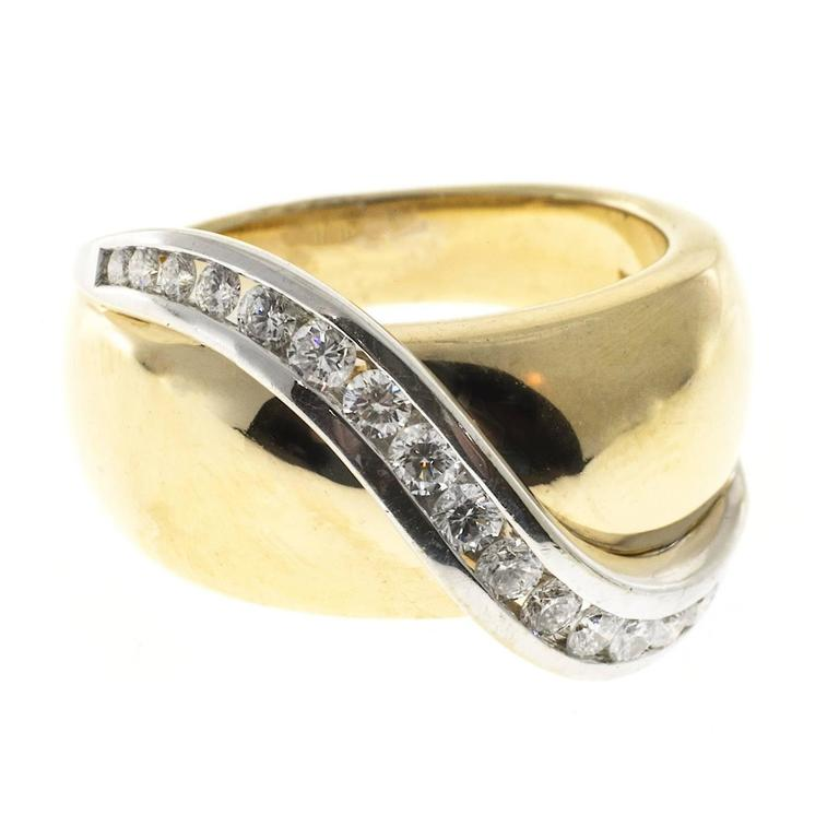 Channel Set Diamond Gold Swirl Cocktail Ring 4