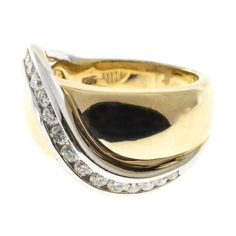 Channel Set Diamond Gold Swirl Cocktail Ring 5