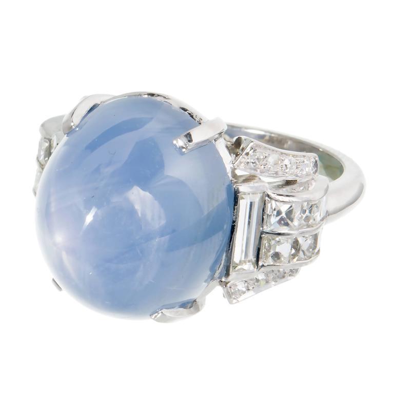 Art Deco 25.00 Carat Natural Star Sapphire Diamond Platinum Ring