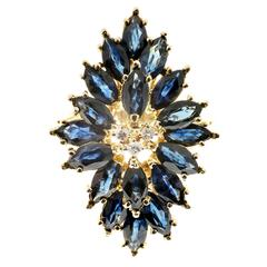 6.00 Carat Marquise Blue Sapphire Diamond Gold Cocktail Cluster Ring