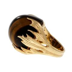 Modernist Tiger Eye Free Form Gold Cocktail Ring