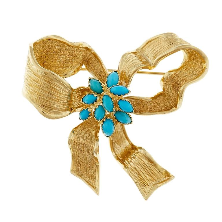 GIA Certified Persian Turquoise Textured Gold Bow Brooch