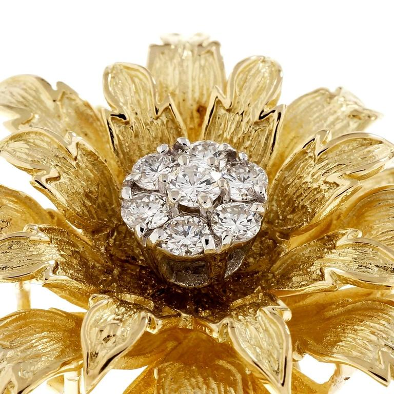 Round Cut Tiffany & Co. .56 Carat Diamond Textured Gold Flower Brooch For Sale