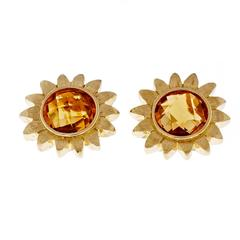 Bielka Citrine Flower Gold Earrings