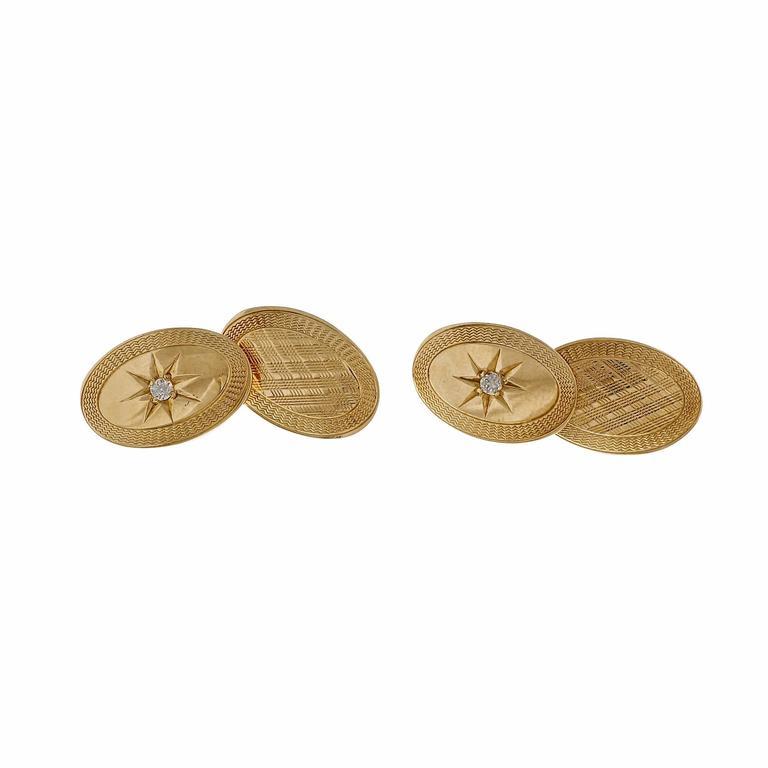Double Sided Diamond Gold Cufflinks