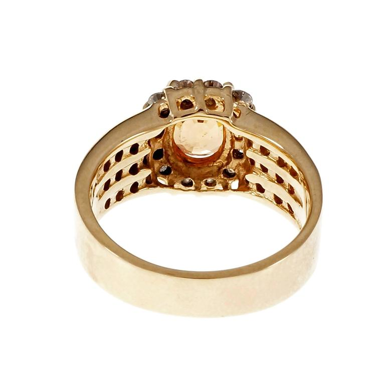 Women's 1.81 Carat Oval Spessartite Garnet Diamond Halo Cocktail Ring For Sale