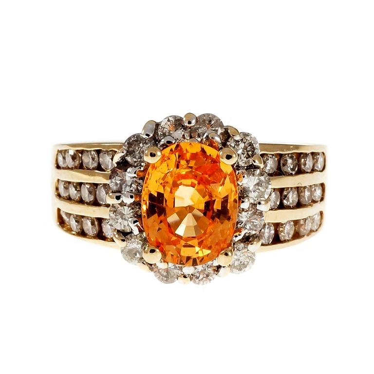 1.81 Carat Oval Spessartite Garnet Diamond Halo Cocktail Ring