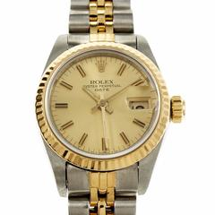 Rolex Ladies Yellow Gold Stainless Steel Date Wristwatch Model 69173