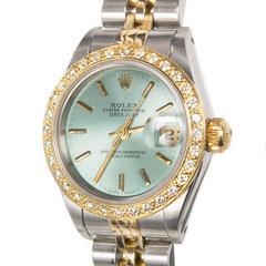 Rolex Ladies Gold Steel Diamond Bezel Dial Datejust Wristwatch, Ref 69173