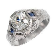 GIA Certified 1.92 Carat Diamond Sapphire White Gold Men's Ring